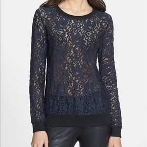 theory Navy lace crewneck